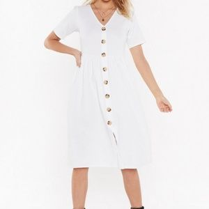 Nasty Gal I Could V the One Button-Up Midi Dress